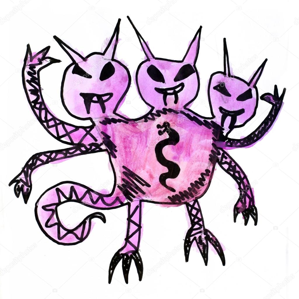 1024x1024 Monster Three Watercolor Heads Evil Hero Hand Drawing Isolated