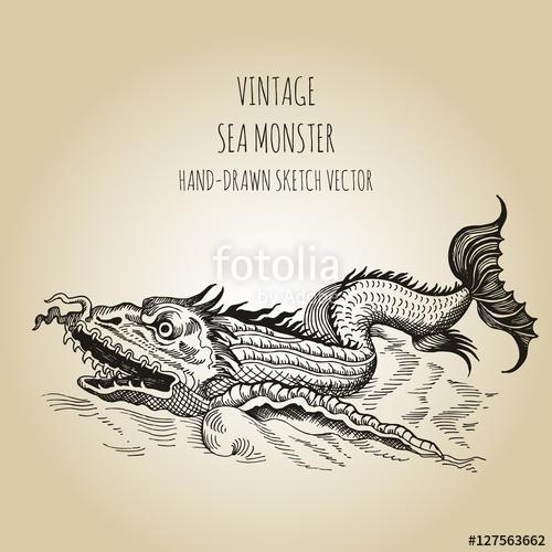 500x500 Mythological Vintage Sea Monster. Fragment Of Old Pirate Map. Hand