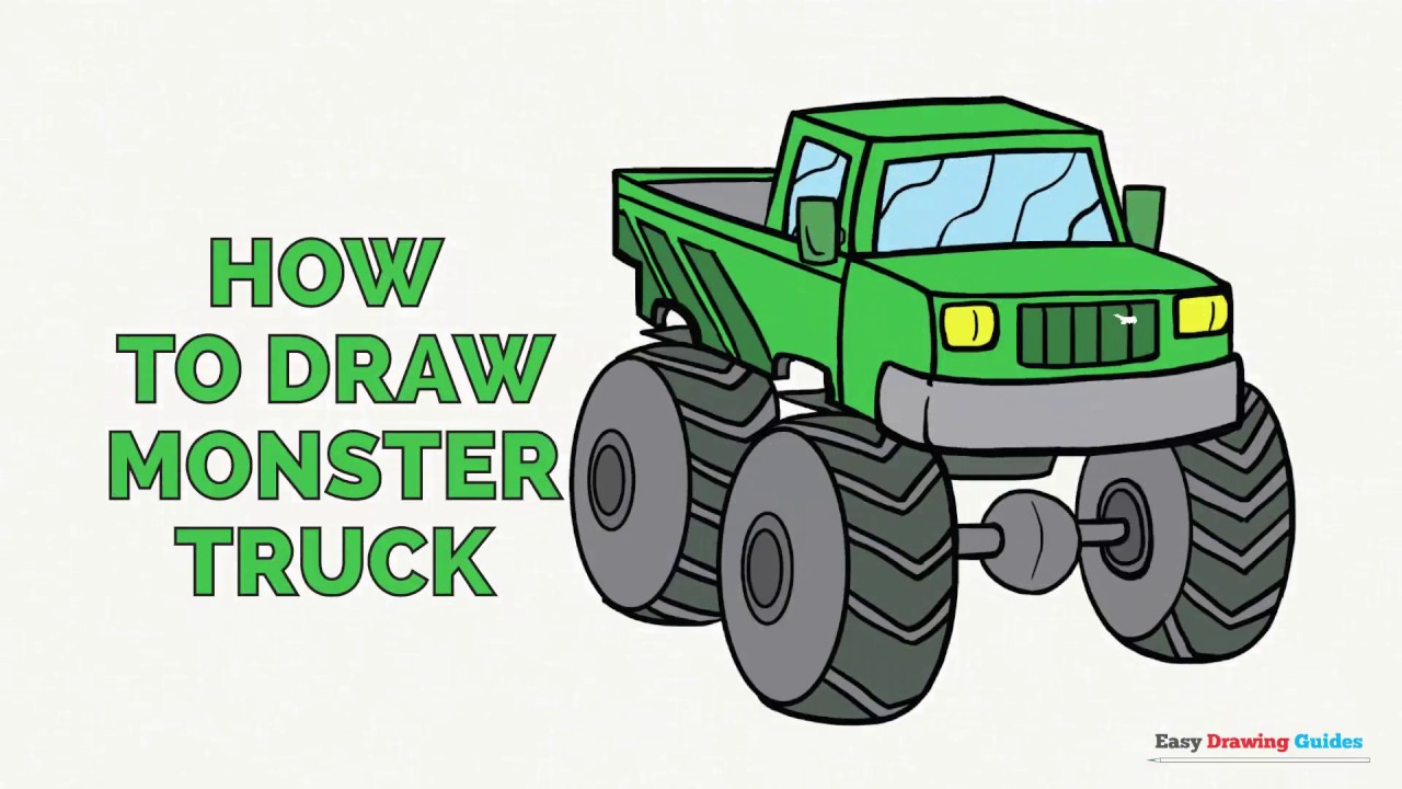 1280x720 How To Draw A Monster Truck In A Few Easy Steps Drawing Tutorial