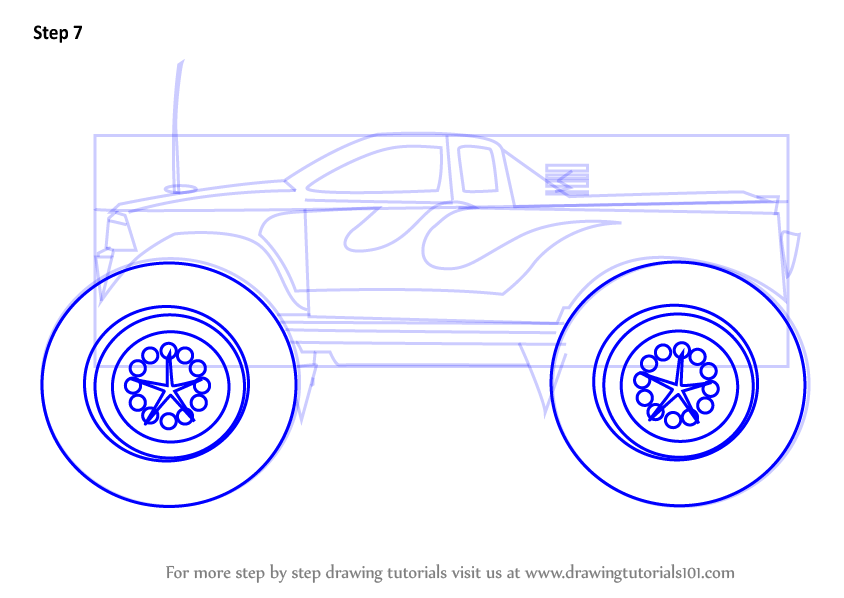 844x598 Learn How To Draw A Monster Truck (Trucks) Step By Step Drawing