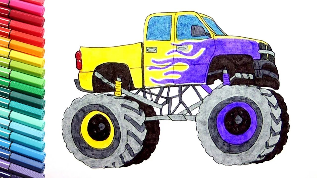 1280x720 Monster Truck Drawing And Coloring Vehicles