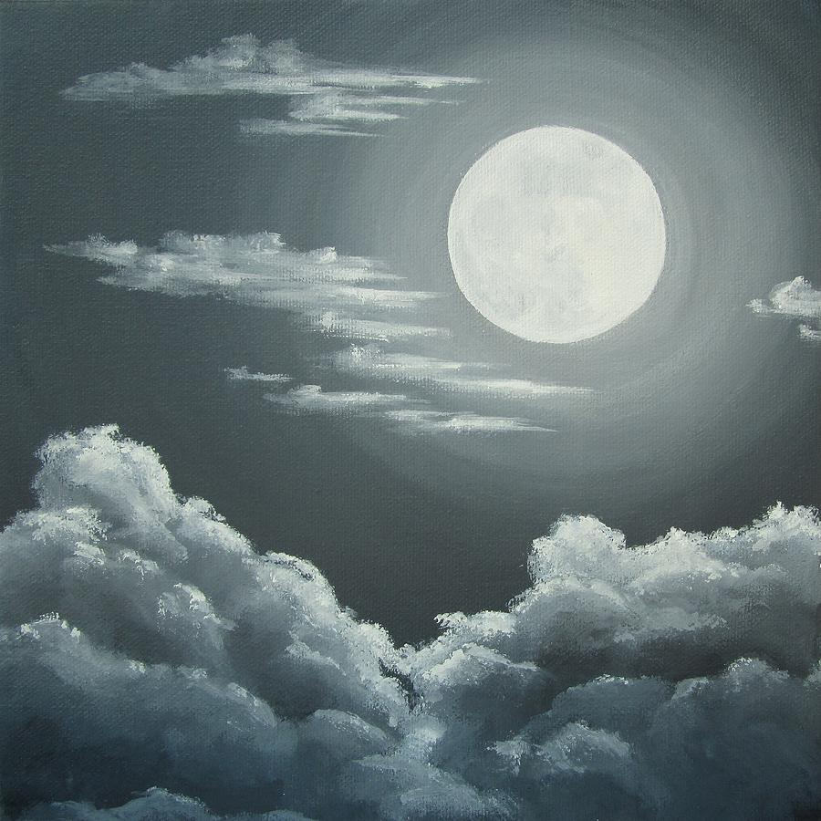 900x900 Clouds Under A Full Moon Painting By Anna Bronwyn Foley