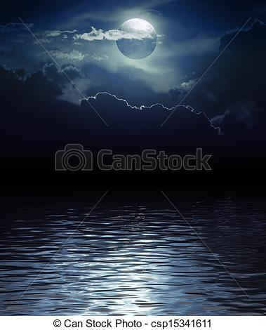 379x470 Fantasy Moon And Clouds Over Water (Elements Of This Image