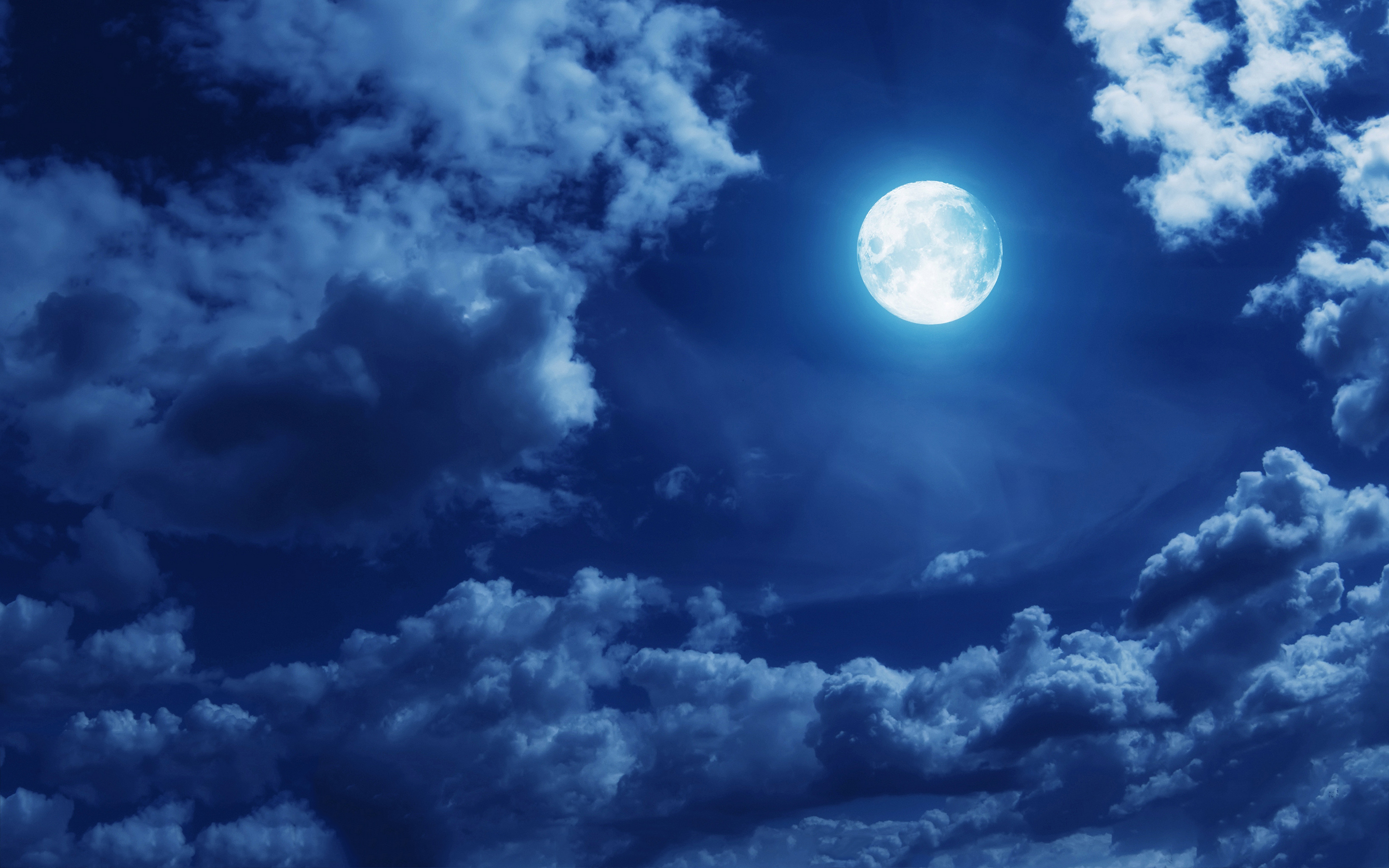 2880x1800 Full Moon With Clouds Drawing Wallpaper
