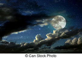 270x194 Night Sky With Moon And Clouds Illustrations And Clipart. 3,161