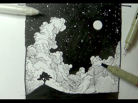 480x360 Pen Amp Ink Drawing Tutorials How To Draw A Night Sky Landscape