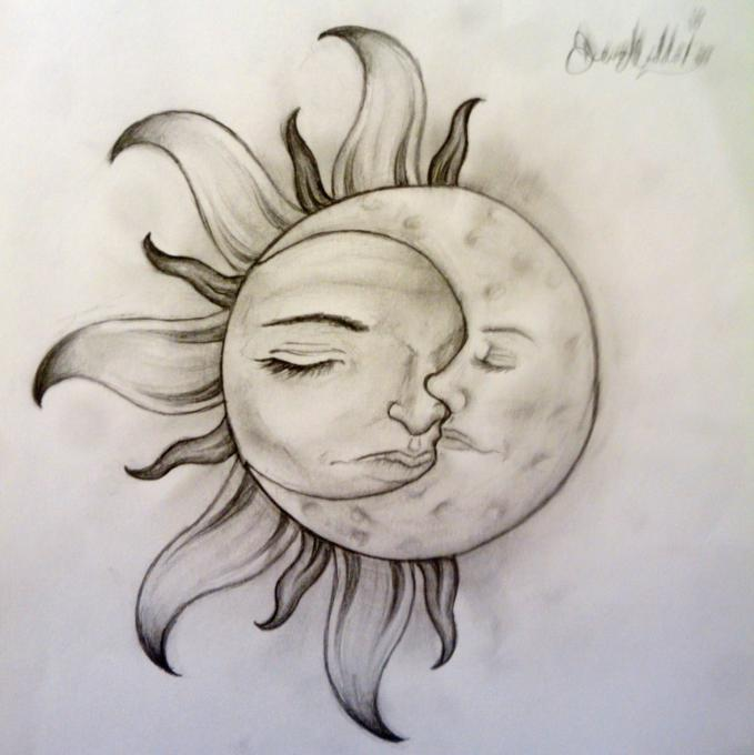 679x680 Sun And Moon. Nature. Drawings. Pictures. Drawings Ideas For Kids