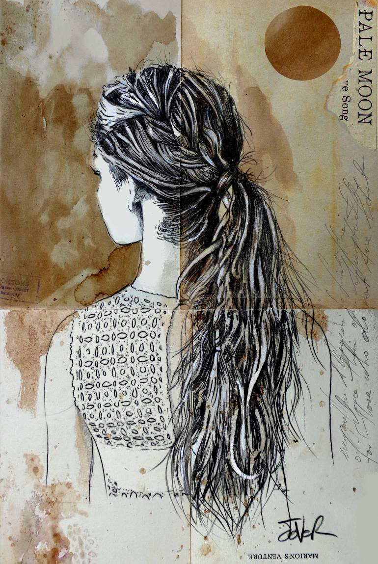 770x1149 Saatchi Art Pale Moon Drawing By Loui Jover