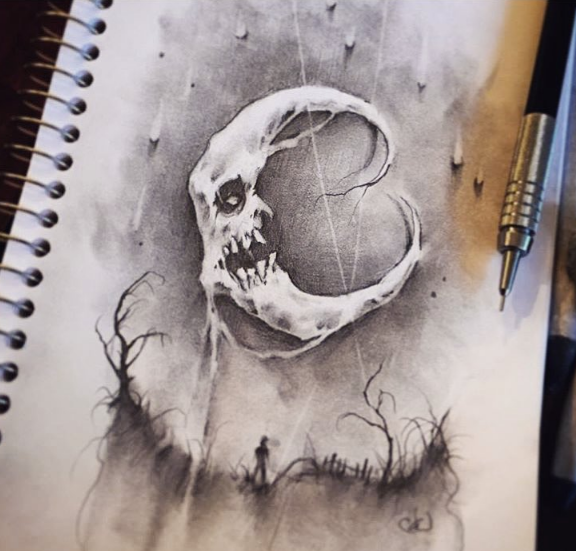 576x551 Creepy Moon Drawing by RayvenLovesAnimeShip on DeviantArt