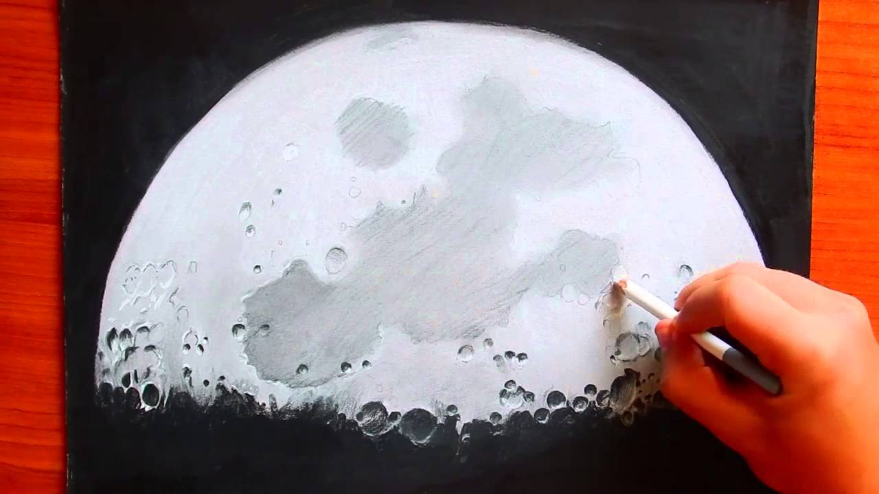 1280x720 How to Draw the Moon Black and White Pastel