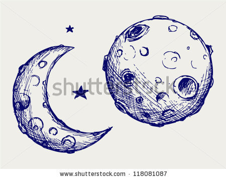 450x356 Moon and lunar craters. Doodle style by Aleks Melnik, via