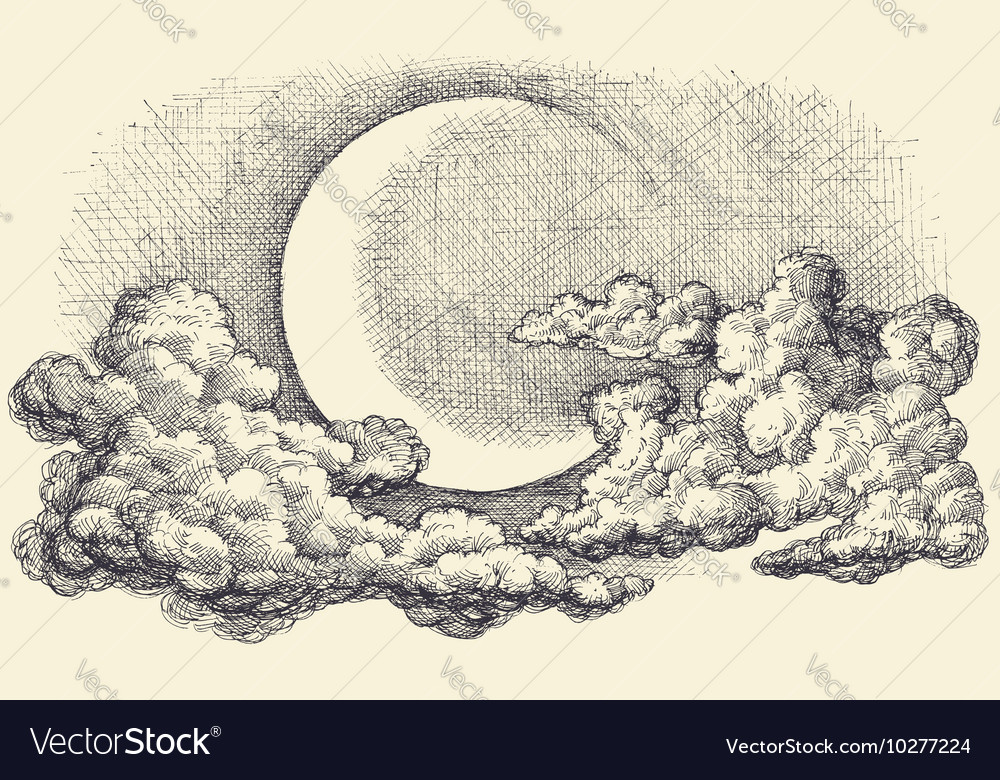 1000x780 Night sky moon in the clouds hand drawing. Download a Free Preview