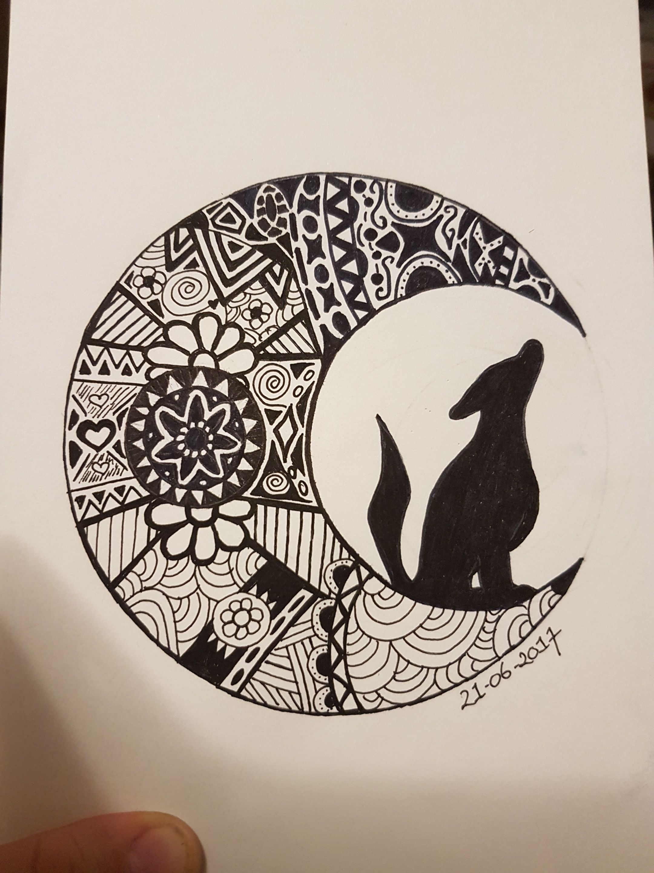 2160x2880 Wolf in moon drawing mandala style CNSteem