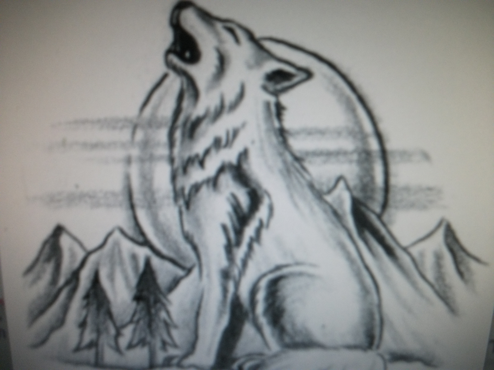 1600x1200 Drawings Wolves Howling At The Moon In Pencil Drawings