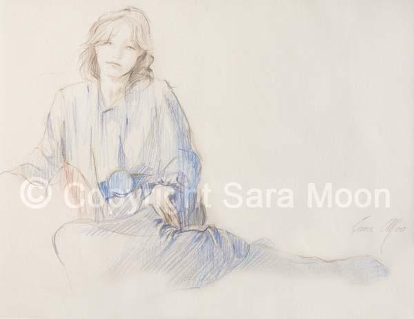 600x462 Original Sara Moon Pencil Drawing Pencil Sketch 25 For Sale