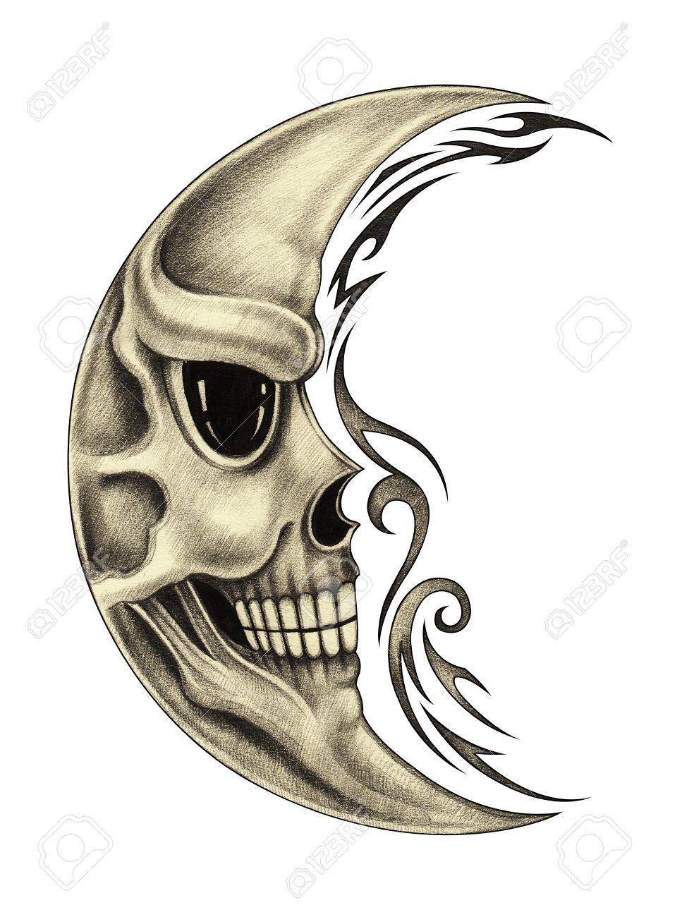 967x1300 Skull Moon Tattoo.art Design Skull Moon Smiley Face For Tattoo