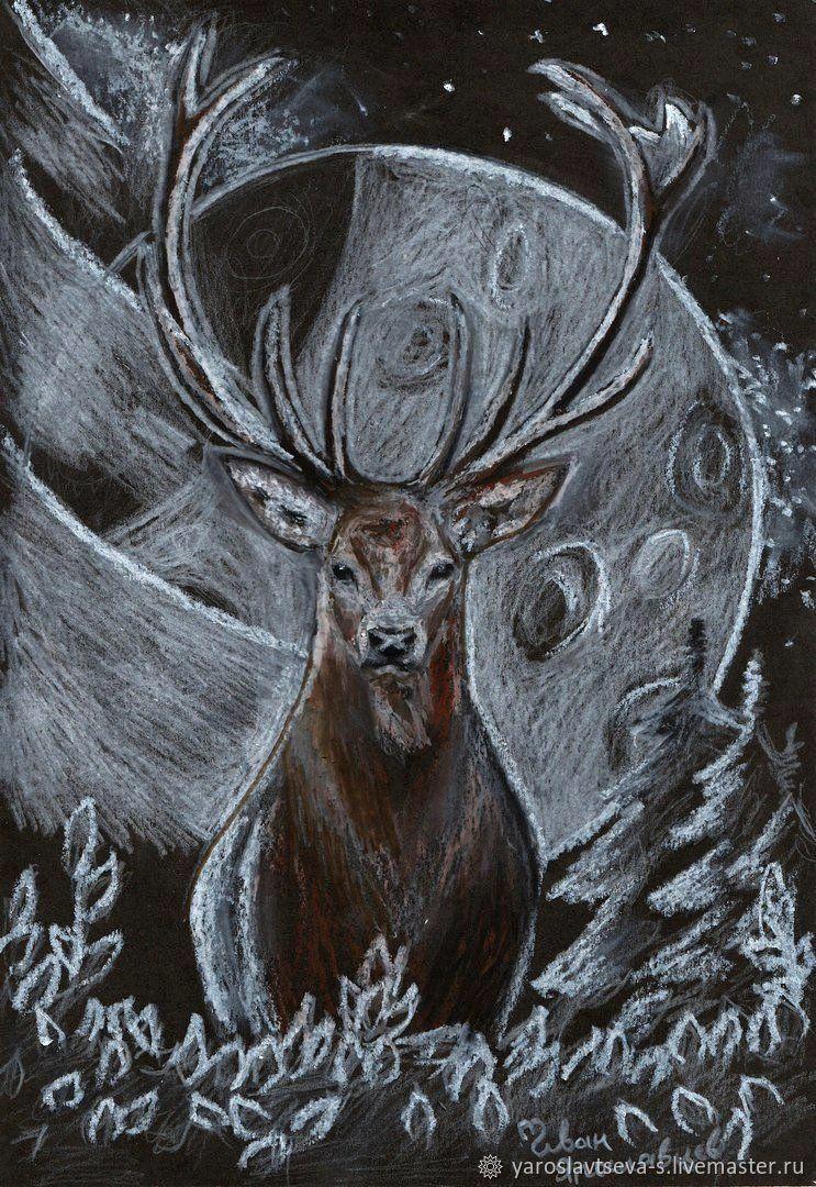743x1080 Deer And Silver Moon.( Drawing Oil Pastel) Shopline