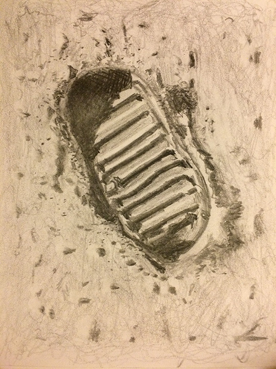 540x720 Drawing Of A Footprint On The Moon