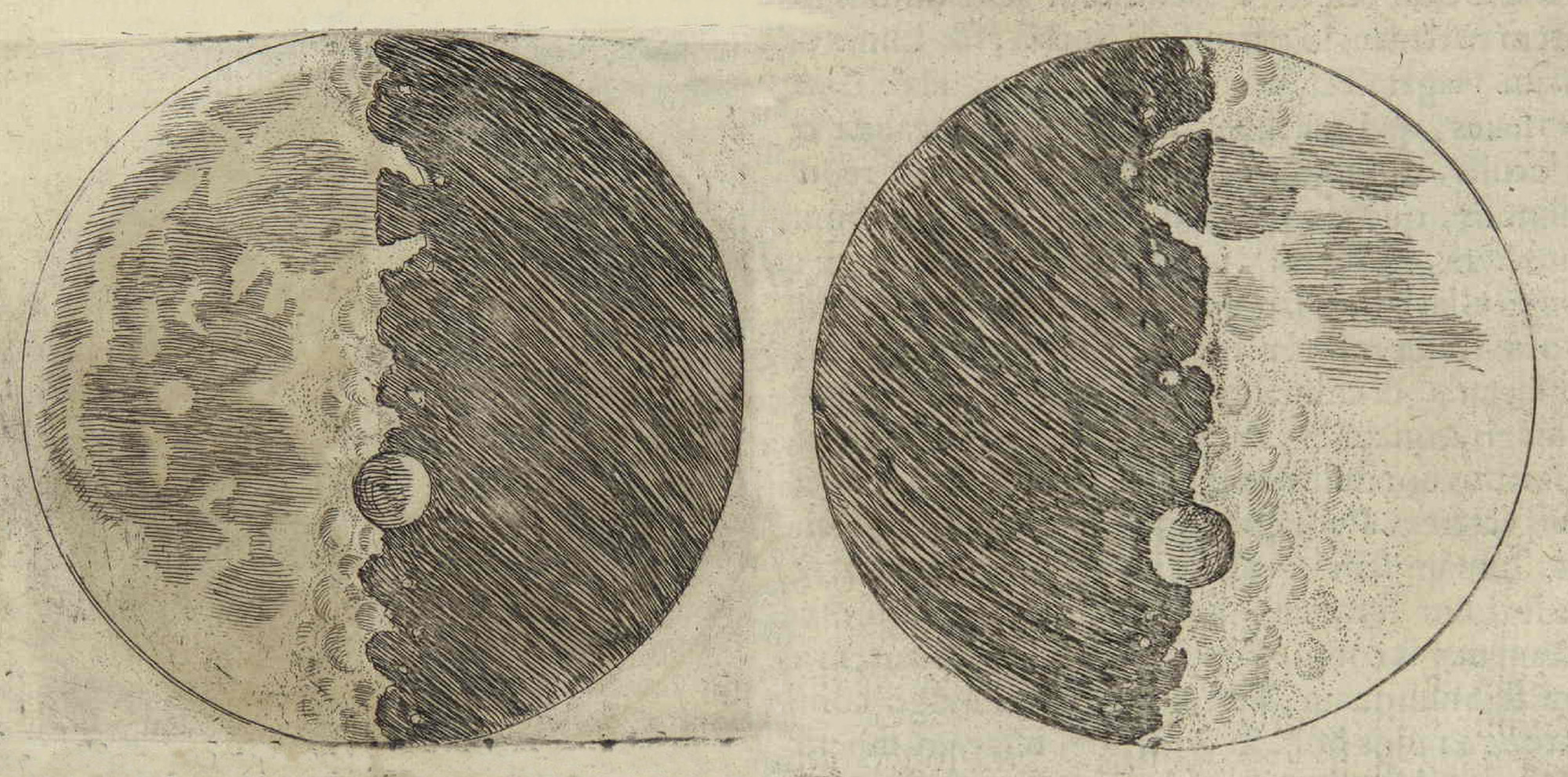 2000x992 Galileo's Moon Drawing Digital Museum Of Planetary Mapping