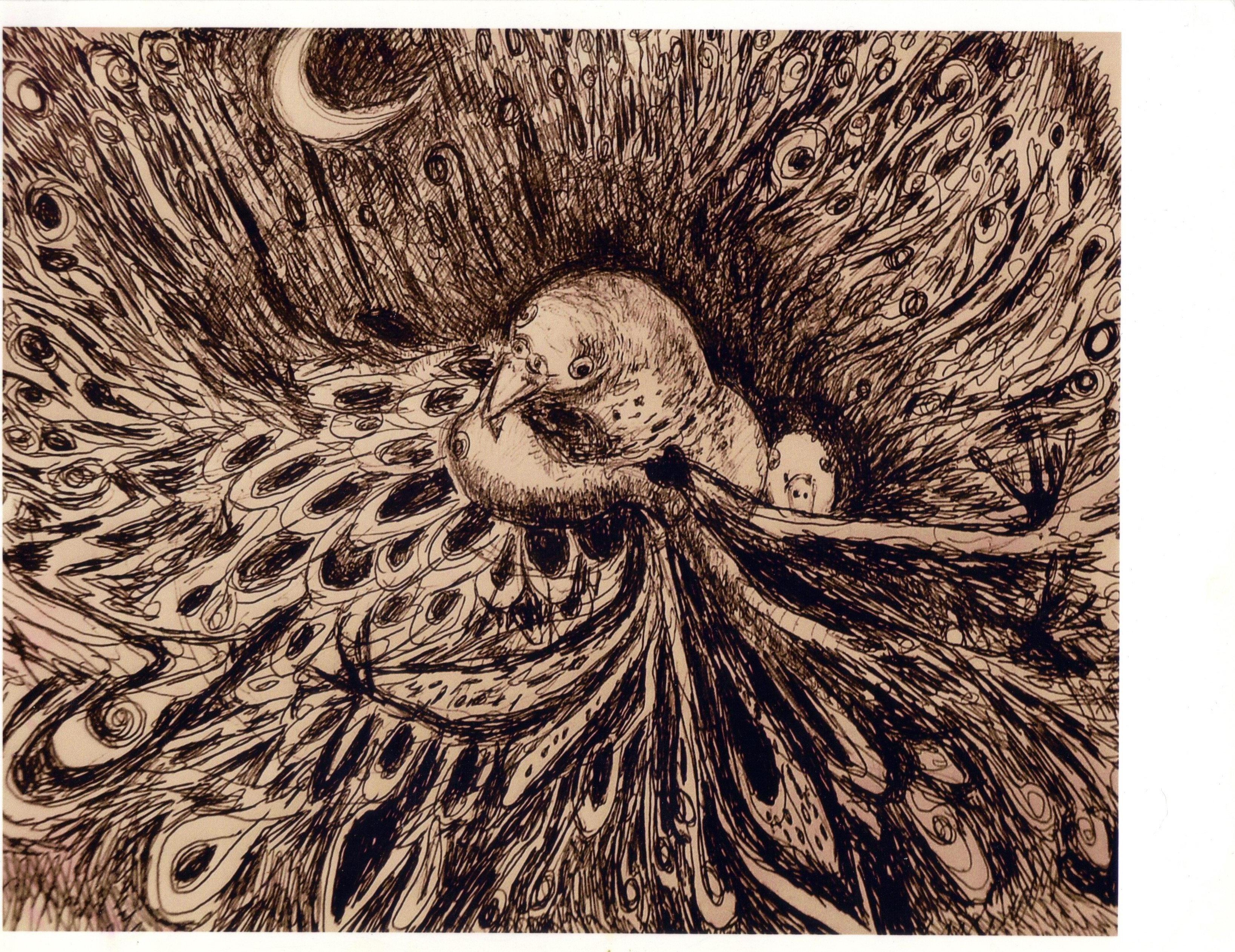 3273x2523 Marilyn Nosewicz Artwork Birds Nest Chaos Crescent Moon Drawing