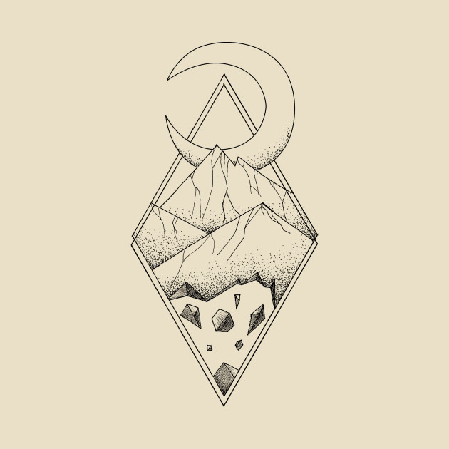 630x630 Geometric Mountain In A Diamonds With Moon (Tattoo Style
