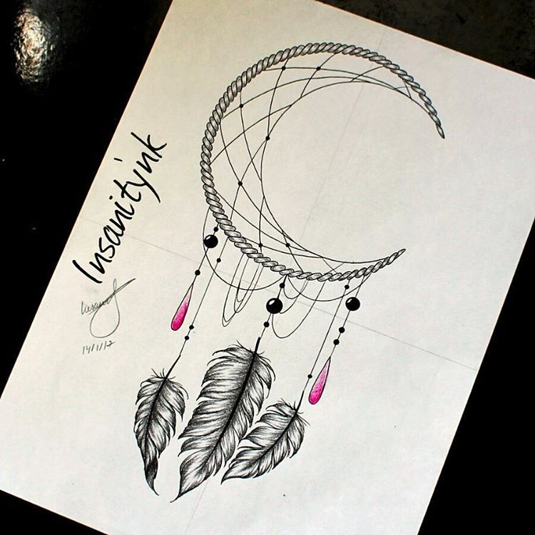 750x749 Moon Dreamcatcher Tattoos Moon Dreamcatcher, Moon