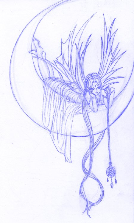 450x749 Moon Fairy Tattoo Sketch By Lotuspie