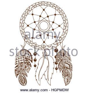 300x320 Hand Drawn Native American Indian Talisman Colored Dreamcatcher