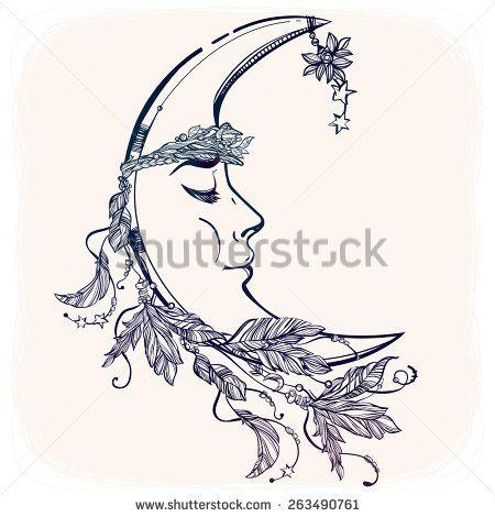 450x470 Crescent Moon Tattoo
