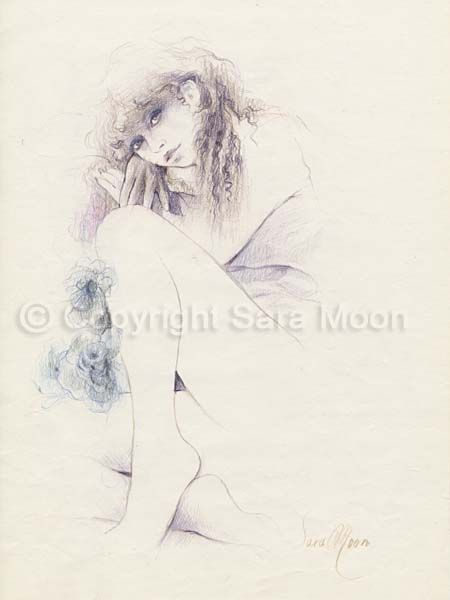 450x600 Original Sara Moon Pencil Drawing American Dreams Sara Moon