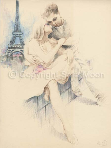 450x600 original sara moon pencil drawing parisian romnce for sale