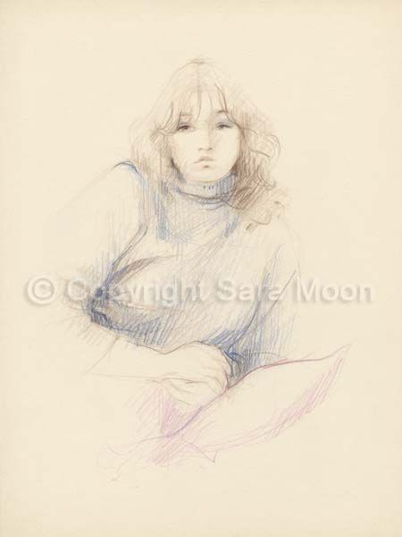 450x600 Original Sara Moon Pencil Drawing Pencil Sketch Sara Moon