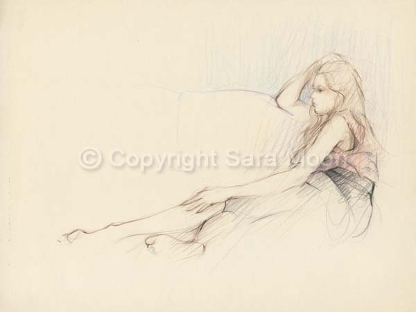 600x450 Original Sara Moon Pencil Drawing Pencil Sketch 20 For Sale