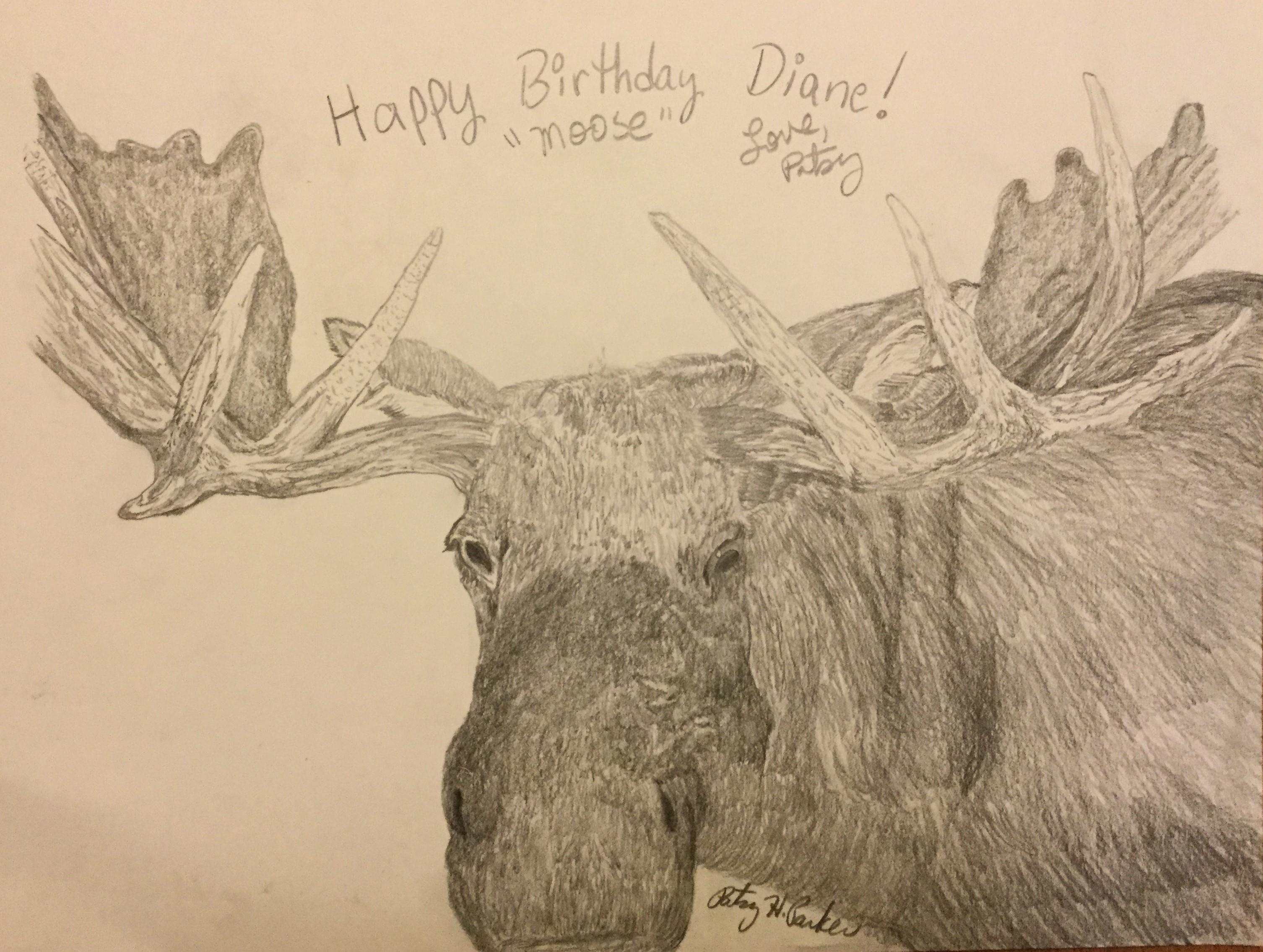 3012x2270 Moose Pencil Drawing Patsy's Creative Corner