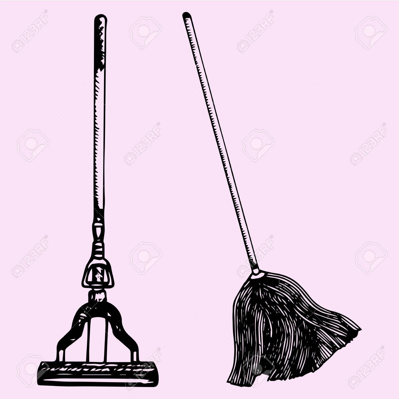 1300x1300 Set Mop For Cleaning, Doodle Style, Sketch Illustration Royalty