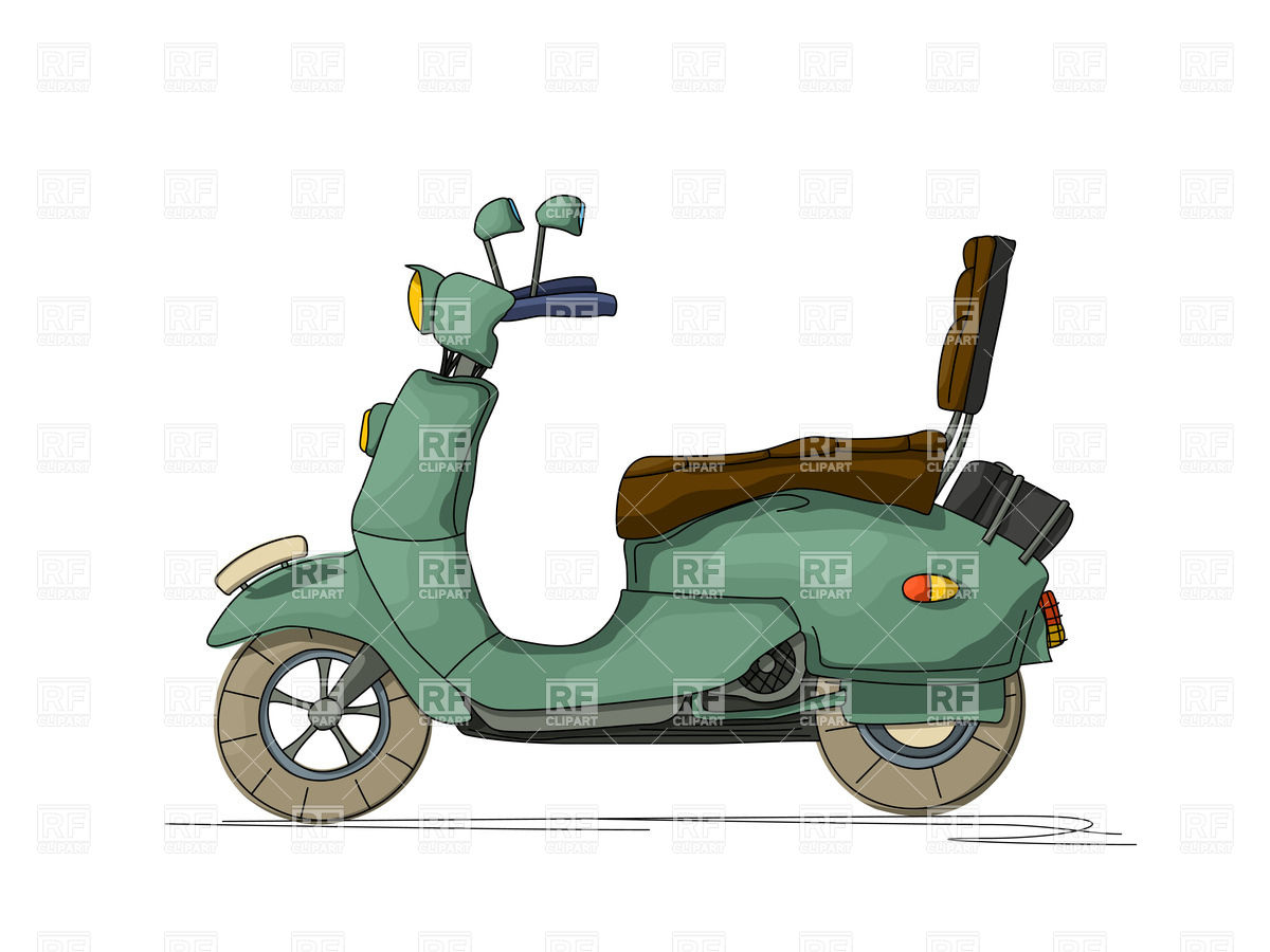 1200x900 Cartoon Style Drawing Of A Retro Motor Scooter Royalty Free Vector