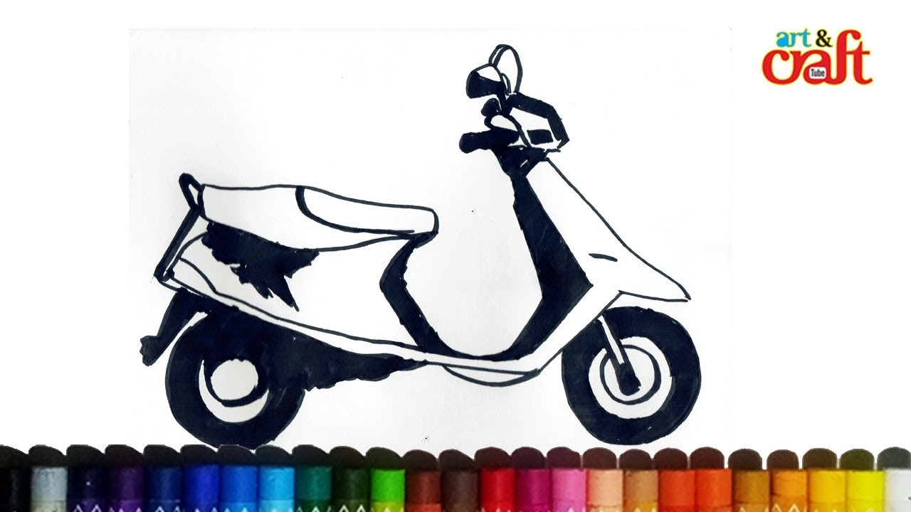 1280x720 How To Draw Scootymopedtwo Wheeller Very Easy Step By Step