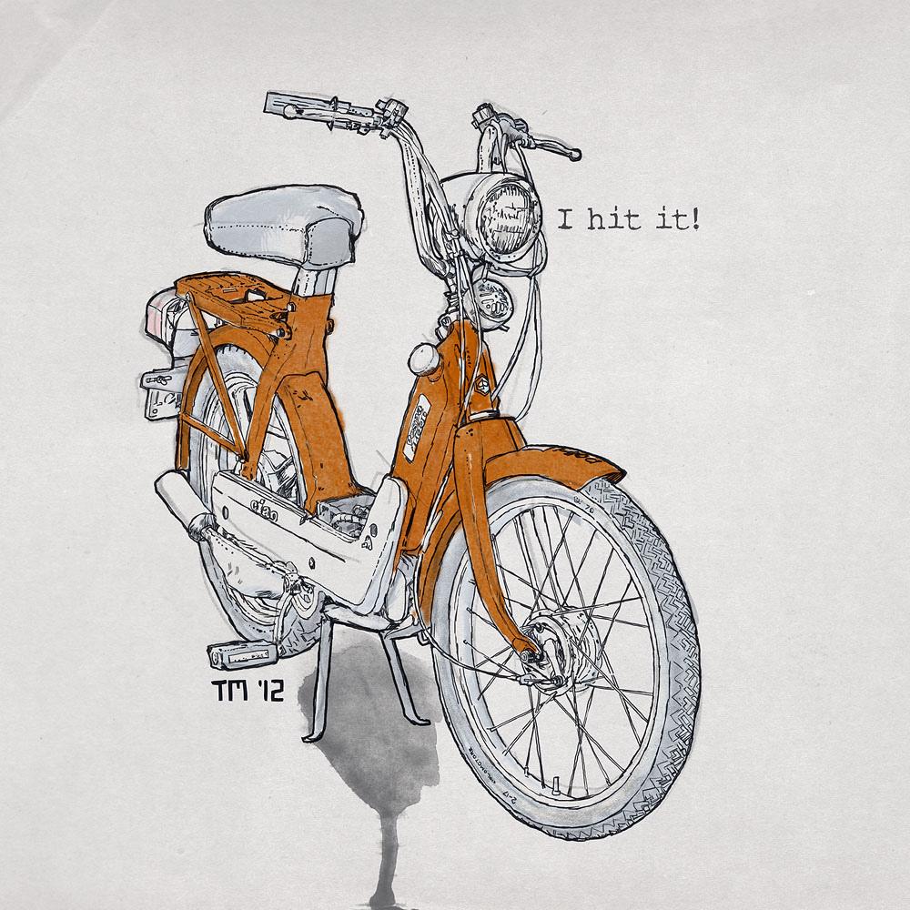1000x1000 Illustration Drawing Art Vespa Piaggio Ciao Orange I Hit