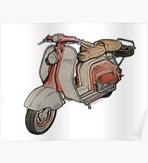 210x230 Moped Drawing Posters Redbubble