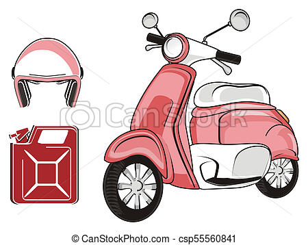 450x358 Pink Moped Objects. Pink Modern Scooter With Helmet