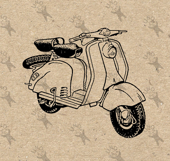 570x541 Retro Drawing Moped Vespa Scooter Vintage Instant Download
