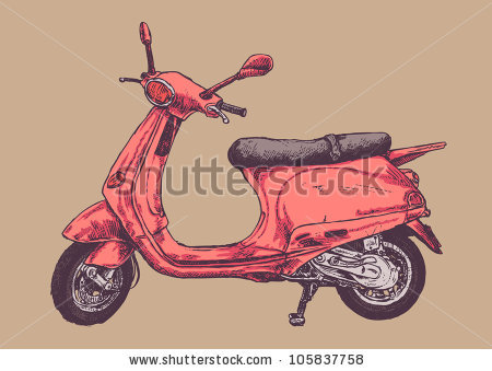 450x339 Retro Scooter Drawing Style Vector Illustration. Cute
