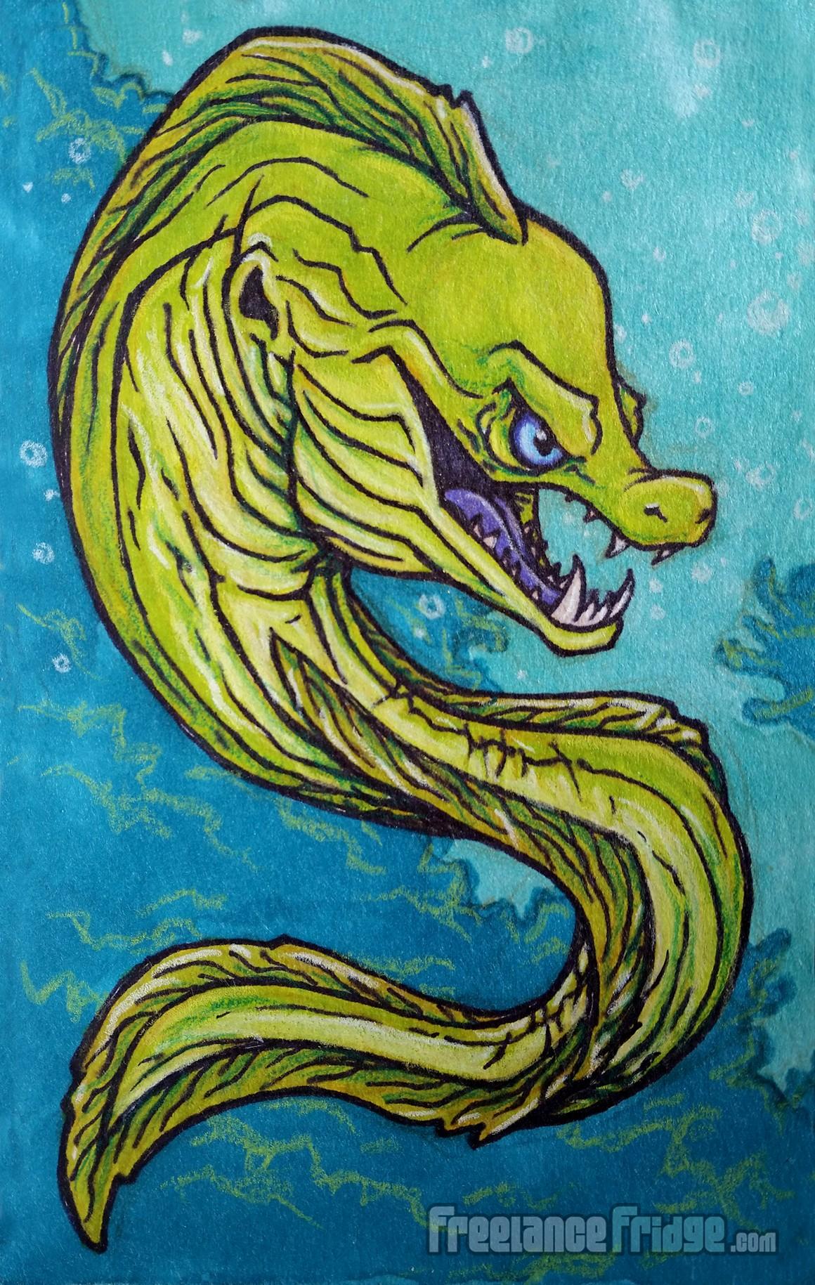 1160x1829 Moray Eel Cartoon Illustration Freelance Fridge Illustration