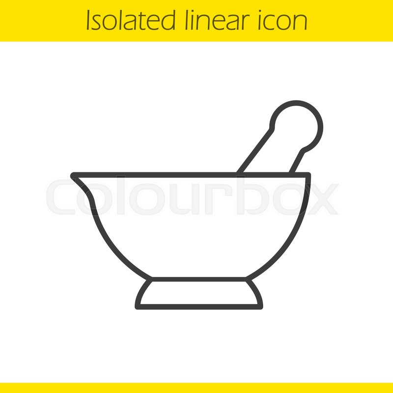 800x800 Mortar And Pestle Linear Icon. Naturopathy Thin Line Illustration