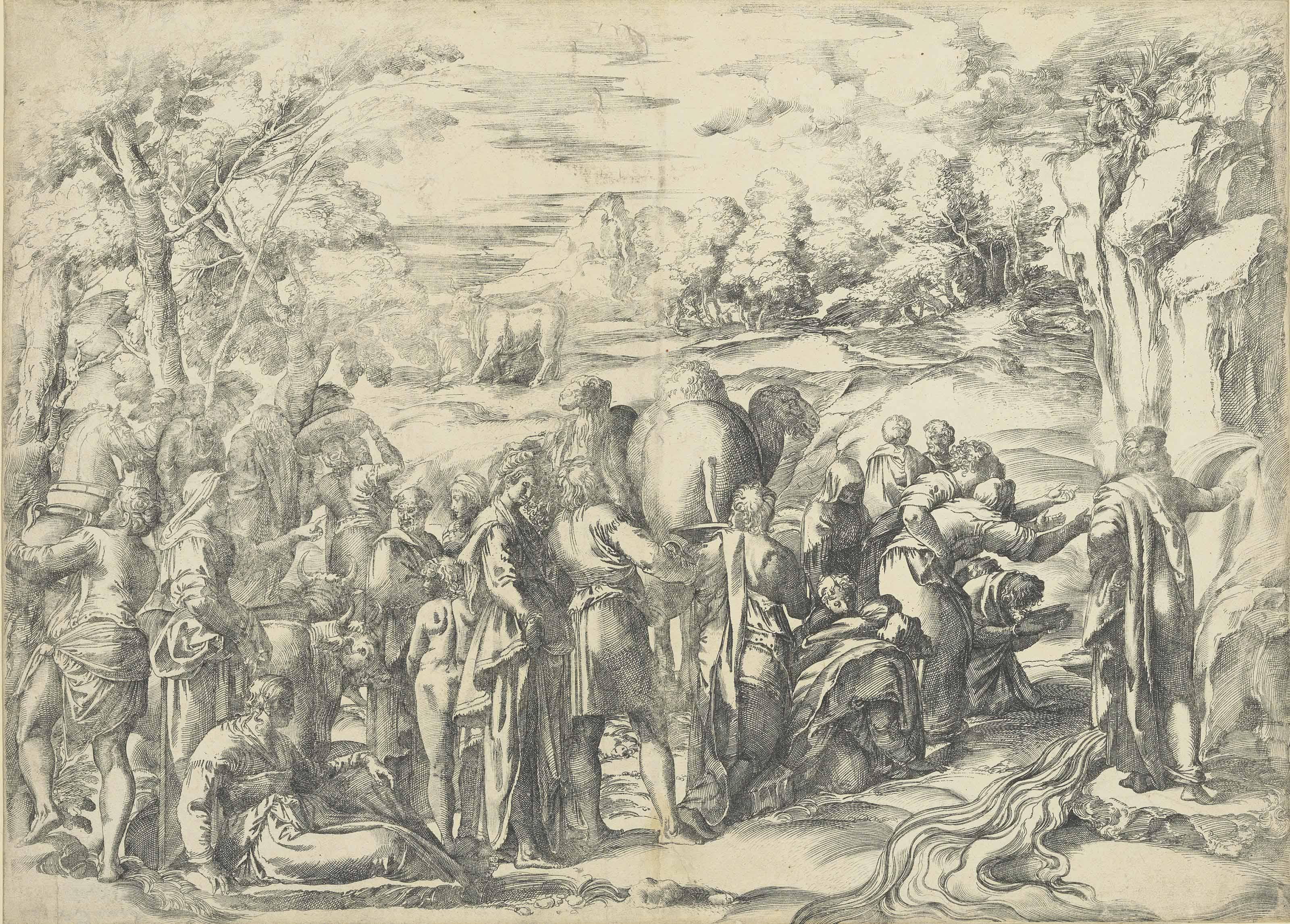 3200x2292 Giovanni Battista Franco (Circa 1510 1561) Moses Drawing Water