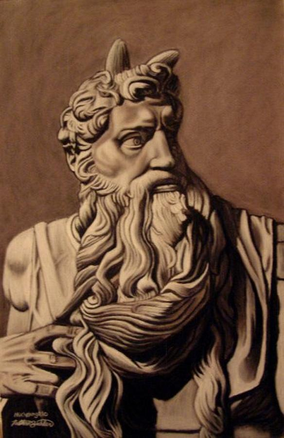 584x900 Michelangelo's Moses Drawing By Nathan Buhler