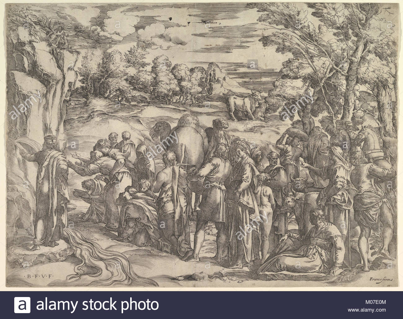 1300x1031 Moses Drawing Water From The Rock Met Dp819635 Stock Photo