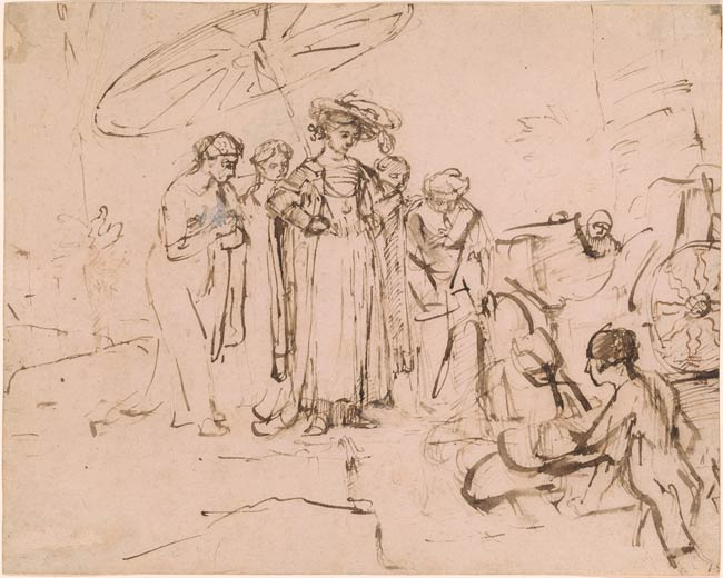 650x520 Rembrandt Harmenszoon Van Rijn The Finding Of Moses Drawings