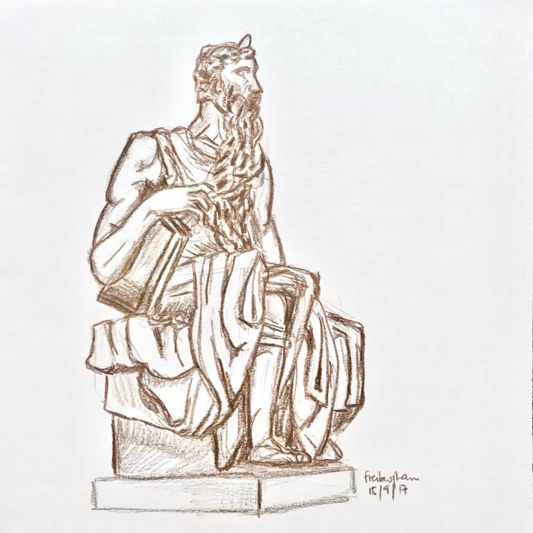 770x770 Saatchi Art Moses Drawing By Roger A Freiburghaus