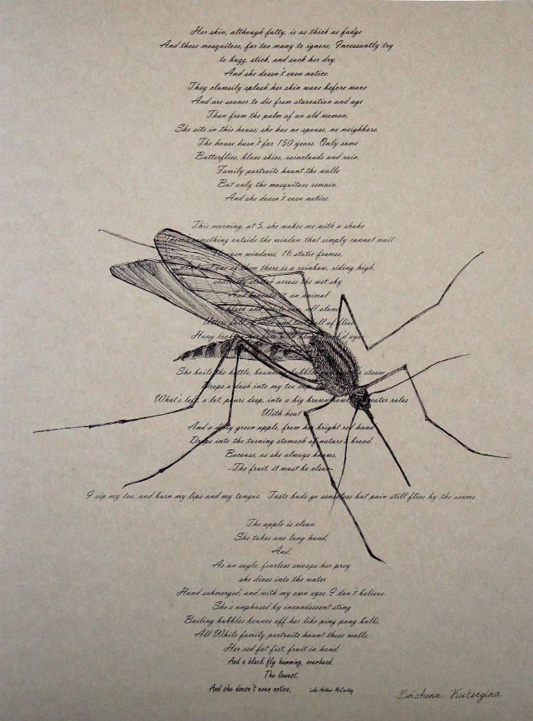 770x1041 Saatchi Art Mosquito Drawing By Bazhena Kutergina